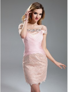 Sheath Square Neckline Knee-Length Chiffon Charmeuse Lace Cocktail Dress With Ruffle Beading (016019698)