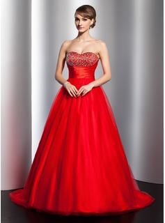 Ball-Gown Sweetheart Sweep Train Satin Tulle Quinceanera Dress With Ruffle Beading