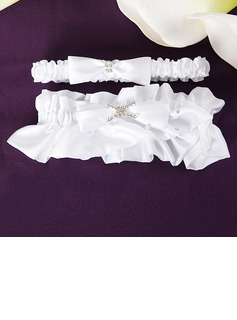 2-Piece Pure Satin With Rhinestone Wedding Garters