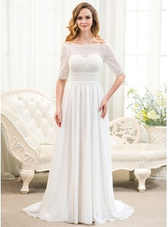 A-Line/Princess Off-the-Shoulder Sweep Train Chiffon Lace Wedding Dress With Ruffle Beading Sequins