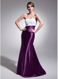 Mermaid Sweetheart Sweep Train Charmeuse Evening Dress With Ruffle Beading Sequins (017014564)
