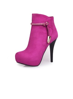 Suede Stiletto Heel Ankle Boots With Rhinestone shoes