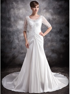 A-Line/Princess V-neck Chapel Train Taffeta Wedding Dress With Ruffle Lace Beadwork
