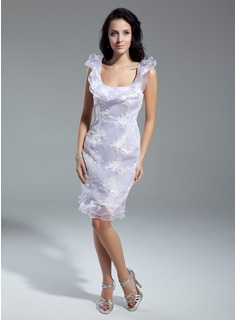 Sheath/Column Scoop Neck Knee-Length Organza Cocktail Dress With Lace Cascading Ruffles