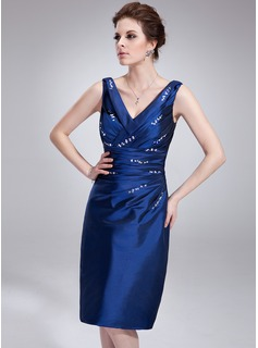 Sheath V-neck Knee-Length Taffeta Cocktail Dress With Ruffle Beading
