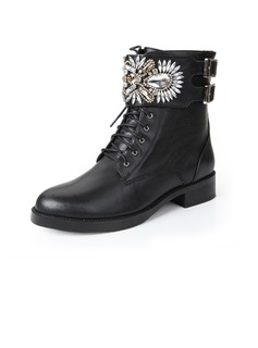 Real Leather Flat Heel Ankle Boots With Rhinestone shoes