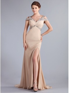 Sheath Off-the-Shoulder Sweep Train Chiffon Evening Dress With Beading