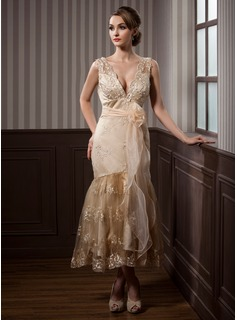 Sheath/Column V-neck Tea-Length Organza Satin Lace Wedding Dress With Sashes Beadwork Flower(s)