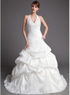 Ball-Gown Halter Chapel Train Taffeta Wedding Dress With Ruffle Lace Beadwork