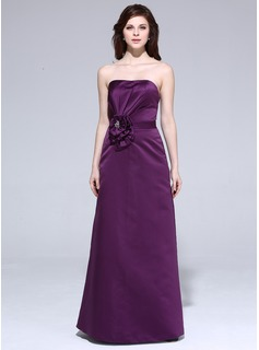 Sheath Sweetheart Floor-Length Satin Bridesmaid Dress With Ruffle Flower(s)