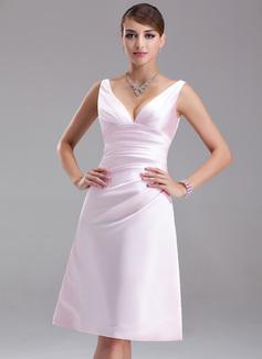 Empire V-neck Knee-Length Satin Bridesmaid Dress With Ruffle