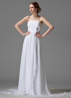 Empire Sweetheart Chapel Train Chiffon Wedding Dress With Ruffle Lace Beading Flower(s)