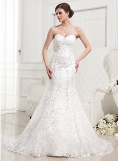 Mermaid Sweetheart Court Train Satin Tulle Wedding Dress With Ruffle Lace Beadwork