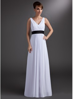 A-Line/Princess V-neck Floor-Length Chiffon Charmeuse Bridesmaid Dress With Sash