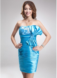 Sheath/Column Strapless Short/Mini Charmeuse Cocktail Dress With Ruffle Lace Beading Sequins Bow(s)