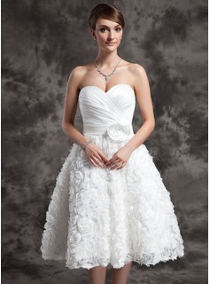 A-Line/Princess Sweetheart Knee-Length Satin Wedding Dress With Ruffle Flower(s) Sequins
