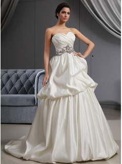 A-Line/Princess Sweetheart Sweep Train Satin Wedding Dress With Ruffle Beadwork (002022652)