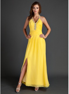 A-Line/Princess Halter Ankle-Length Chiffon Holiday Dress With Ruffle Beading