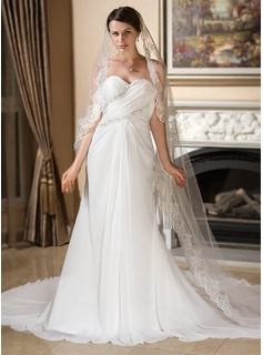 Sheath/Column Sweetheart Watteau Train Chiffon Wedding Dress With Ruffle Lace Beadwork (002011577)