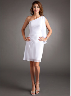 Sheath One-Shoulder Knee-Length Chiffon Cocktail Dress With Ruffle Beading