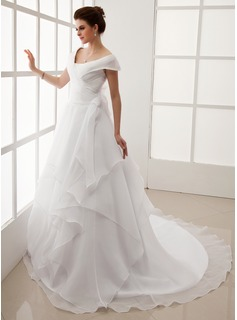 A-Line/Princess Off-the-Shoulder Chapel Train Organza Wedding Dress With Ruffle