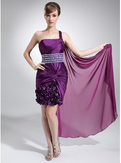 Sheath/Column One-Shoulder Watteau Train Chiffon Charmeuse Prom Dress With Ruffle Beading Flower(s)