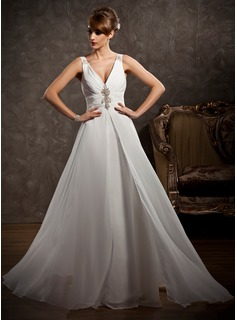 A-Line/Princess V-neck Watteau Train Chiffon Wedding Dress With Ruffle Beadwork (002011631)