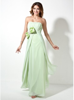 Empire Strapless Floor-Length Chiffon Charmeuse Evening Dress With Ruffle Sash Beading