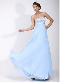Empire Strapless Floor-Length Chiffon Charmeuse Holiday Dress With Ruffle Beading Sequins
