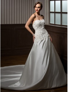 Ball-Gown Sweetheart Cathedral Train Charmeuse Wedding Dress With Lace Beadwork