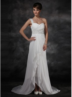 A-Line/Princess One-Shoulder Asymmetrical Chiffon Evening Dress With Ruffle Beading Sequins (017022541)
