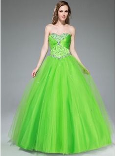 Ball-Gown Sweetheart Floor-Length Satin Tulle Prom Dress With Ruffle Beading Sequins