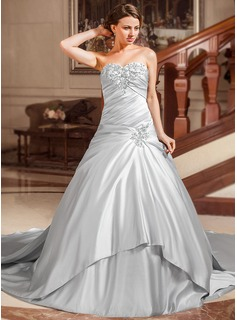 Ball-Gown Sweetheart Watteau Train Satin Wedding Dress With Ruffle Beading Appliques Lace Sequins