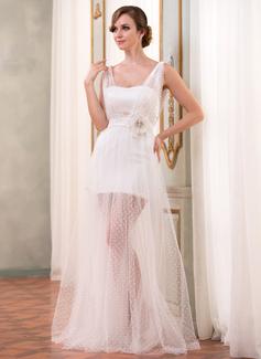 Corte A/Princesa Escote corazón Hasta el suelo Satén Tul Vestido de baile de promoción con Volantes Flores