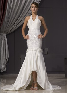 Mermaid Halter Asymmetrical Taffeta Wedding Dress With Beadwork Flower(s) Sequins