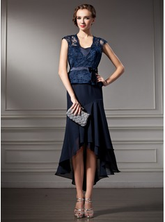 A-Line/Princess Sweetheart Asymmetrical Chiffon Charmeuse Lace Mother of the Bride Dress With Bow(s)