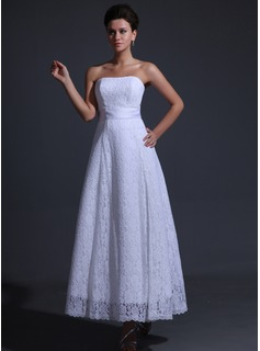 A-Line/Princess Strapless Ankle-Length Charmeuse Lace Wedding Dress
