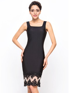 Sheath/Column Knee-Length Tulle Jersey Cocktail Dress With Beading Appliques Lace Sequins