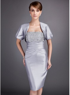 Sheath/Column Strapless Knee-Length Taffeta Mother of the Bride Dress With Ruffle Lace Beading