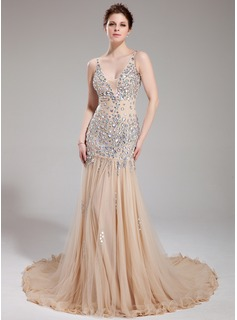 Sheath V-neck Chapel Train Tulle Prom Dress With Beading (018018993)
