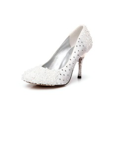 Women's Satin Cone Heel Closed Toe Pumps With Rhinestone Crystal Heel