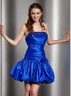 A-Line/Princess Strapless Short/Mini Taffeta Cocktail Dress With Ruffle Beading Flower(s)