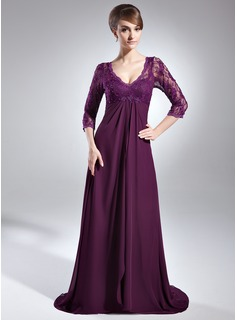 Empire V-neck Sweep Train Chiffon Charmeuse Lace Mother of the Bride Dress With Beading