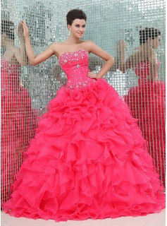 Ball-Gown Sweetheart Floor-Length Organza Satin Quinceanera Dress With Beading Cascading Ruffles (021017439)