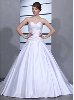 Ball-Gown Sweetheart Chapel Train Satin Wedding Dress With Ruffle Beadwork (002001173)