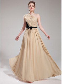 A-Line/Princess One-Shoulder Floor-Length Chiffon Charmeuse Evening Dress With Ruffle Sash Bow(s)