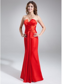 Sheath V-neck Floor-Length Charmeuse Holiday Dress With Ruffle