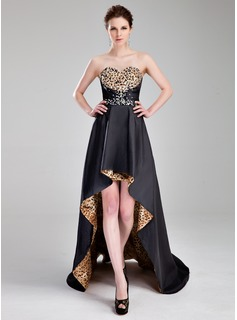 A-Line/Princess Sweetheart Asymmetrical Taffeta Prom Dress With Beading