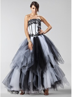 Ball-Gown Strapless Floor-Length Satin Tulle Quinceanera Dress With Lace Cascading Ruffles
