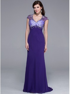 Sheath V-neck Sweep Train Chiffon Tulle Charmeuse Prom Dress With Beading